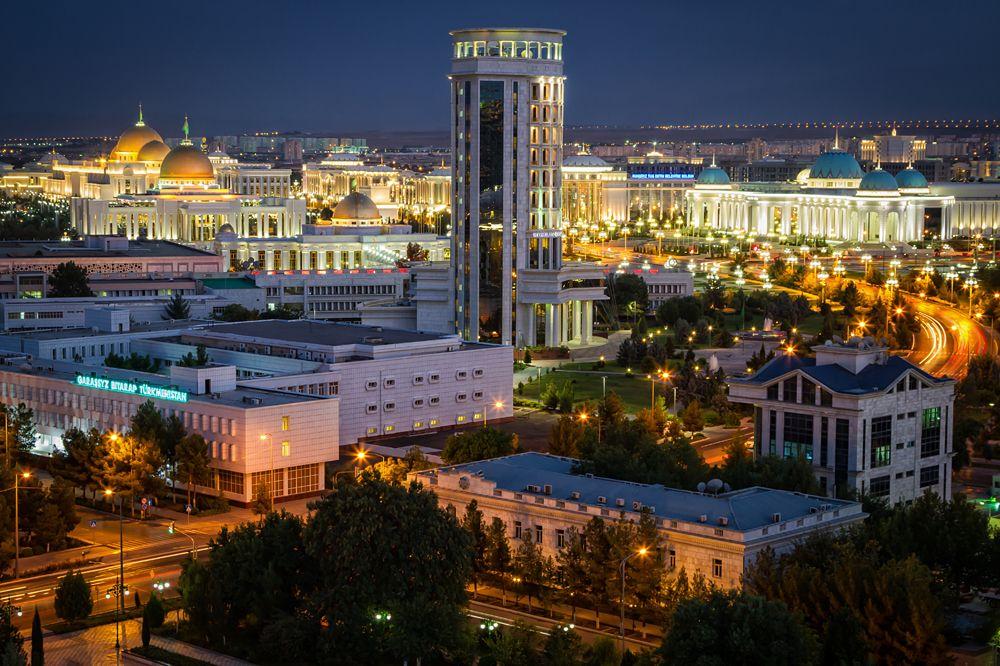 City of Ashgabat after sunset, Turkmenistan