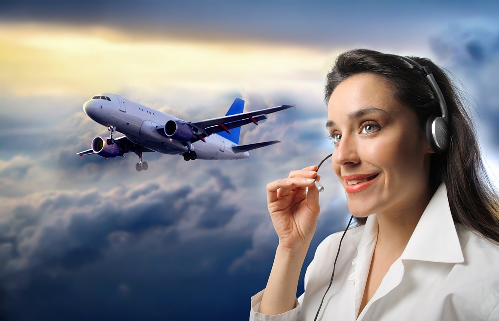 Customer support operator against a cloudy sky with airplane