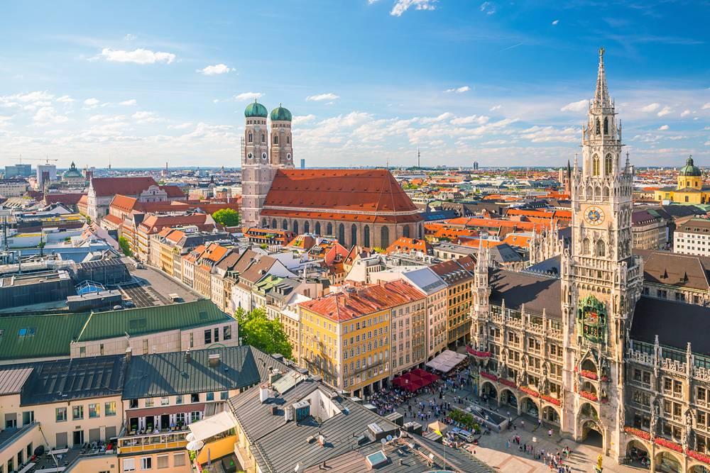 Munich skyline with Marienplatz town hall, Germany