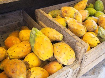 Prickly pear cactus fruit in crate in Peru market