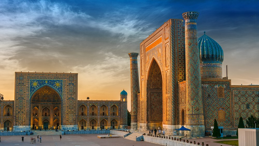 Registan, an old public square in the heart of the ancient city of Samarkand, Uzbekistan