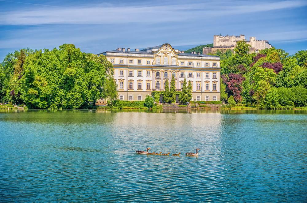 Schloss Leopoldskron with Hohensalzburg Fortress in the background, Salzburg, Austria