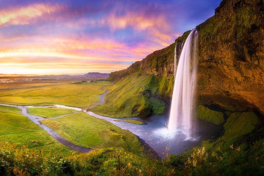 Seljalandsfoss at sunset, Iceland