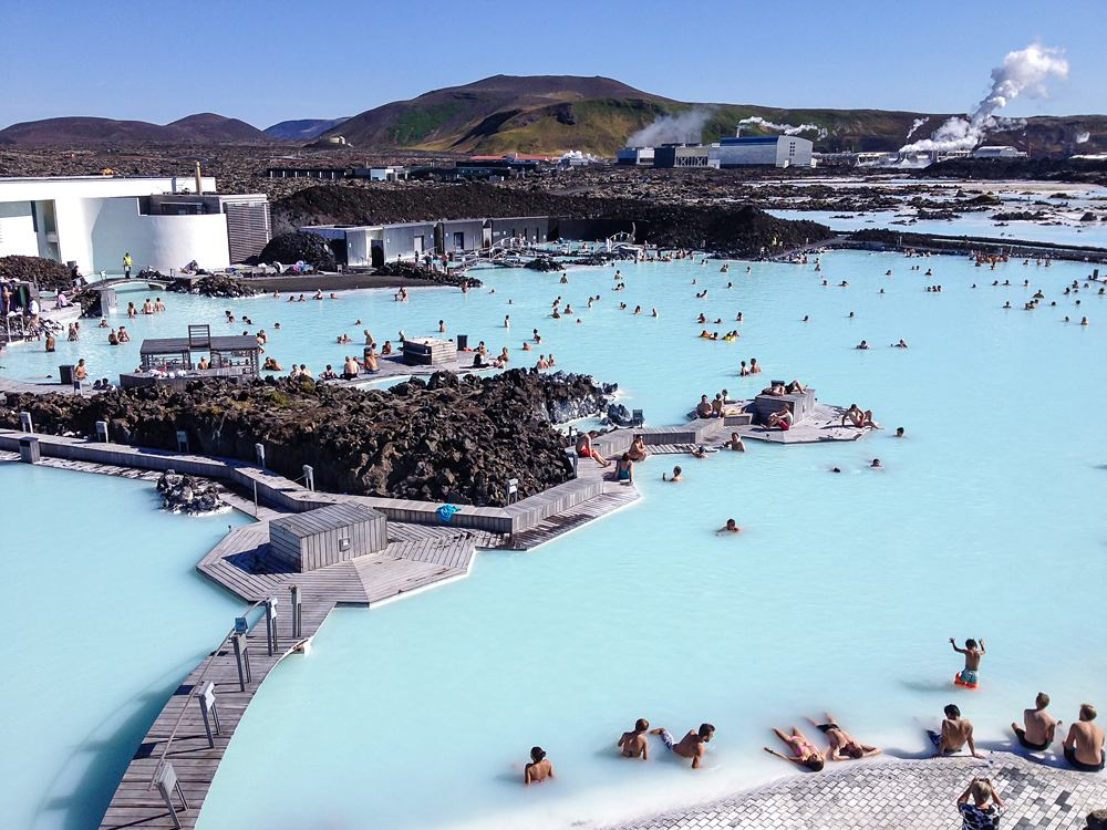 Visitors enjoying the Blue Lagoon facilities, Iceland