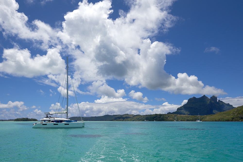 Archipels catamaran cruise vessel in Rangiroa, Tahiti (French Polynesia)