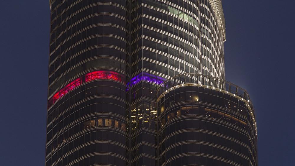 Close up view of Observation Deck at Burj Khalifa, Dubai, United Arab Emirates (UAE)