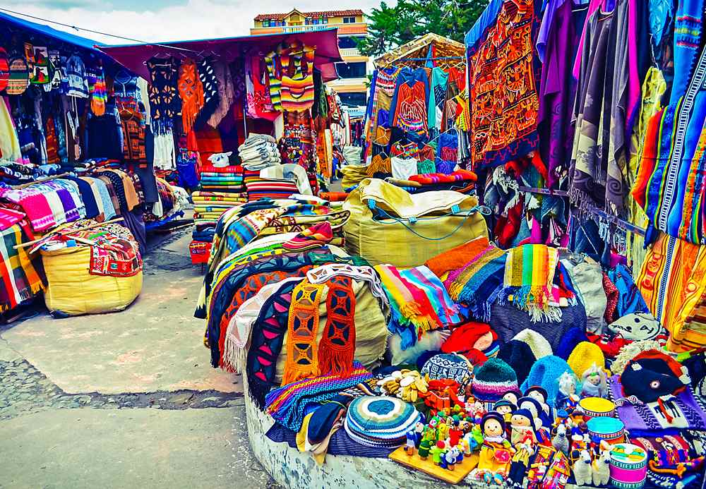 Colourful handmade handicrafts in Otavalo Market, Ecuador