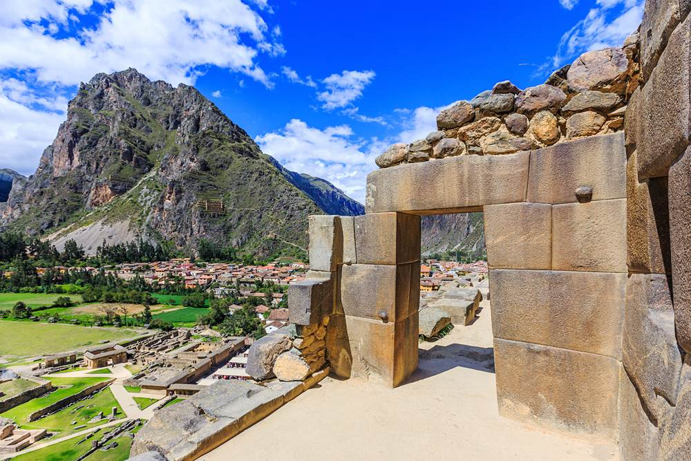 Inca fortress ruins on the temple hill, Ollantaytambo, Peru