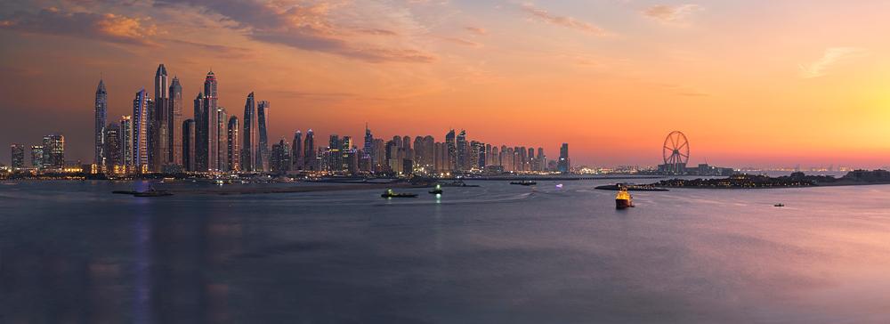 Panorama of Dubai Marina skyline at sunset, United Arab Emirates (UAE)