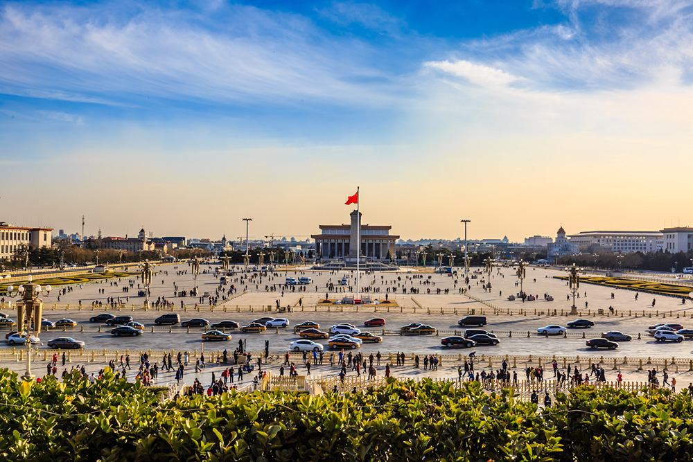 Panoramic view of Tiananmen Square, Beijing, China
