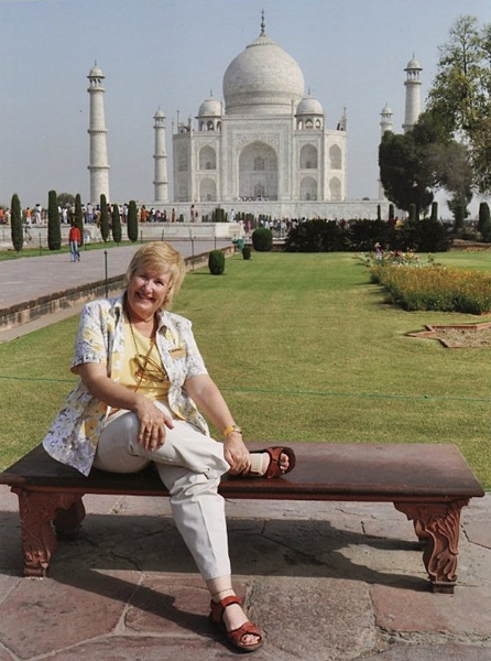 Pene Hollingworth at Taj Mahal, Agra, India