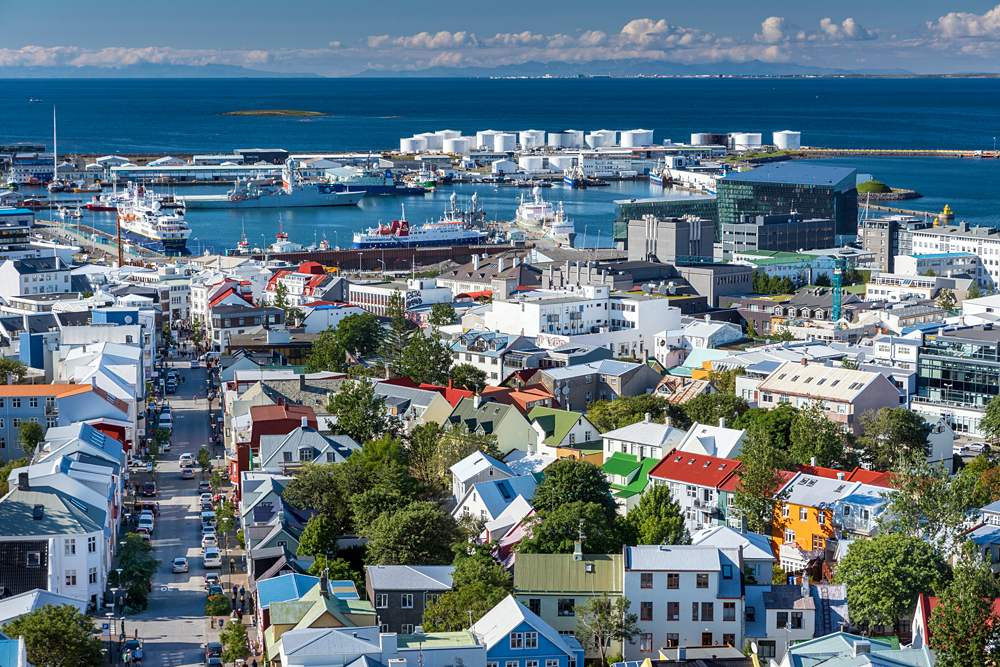View from Hallgrímskirkja towards the Old Harbour, Reykjavik, Iceland