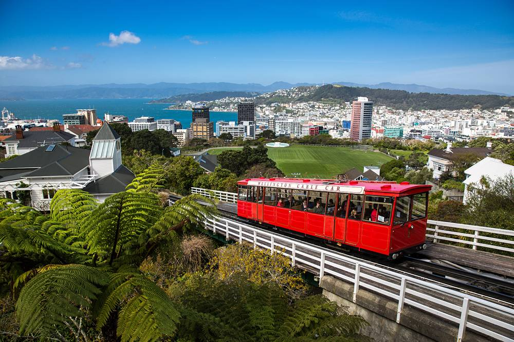 View of Wellington Cable Car and skyline, Wellington, New Zealand