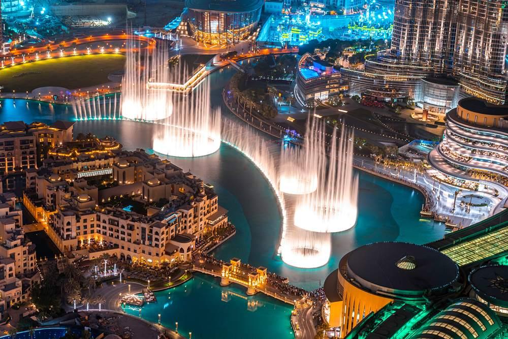 Water show at Dubai Fountain, Dubai, United Arab Emirates (UAE)