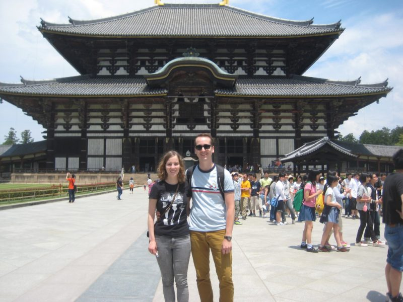 Posing in front of Todaiji