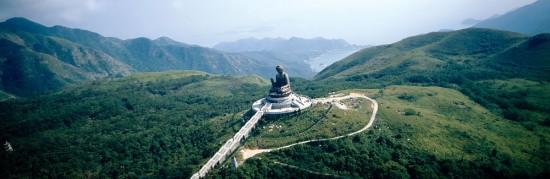 Aerial view of Big Buddha on Lantau Island