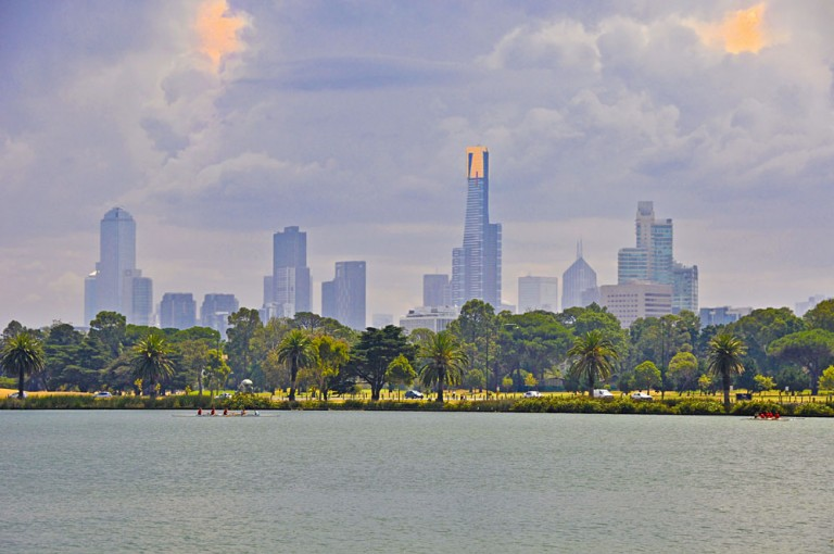 Melbourne City skyline with Eureka Tower in background, Australia