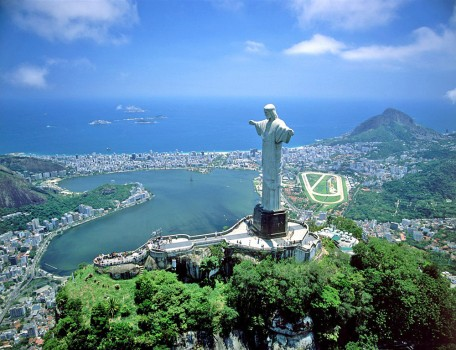 Aerial View of Rio and Christ the Redeemer Statue, Brazil