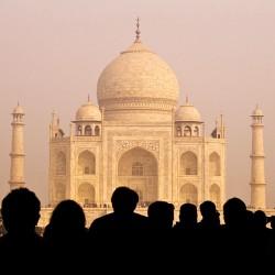 View of Taj Mahal with Tourist Silhouettes