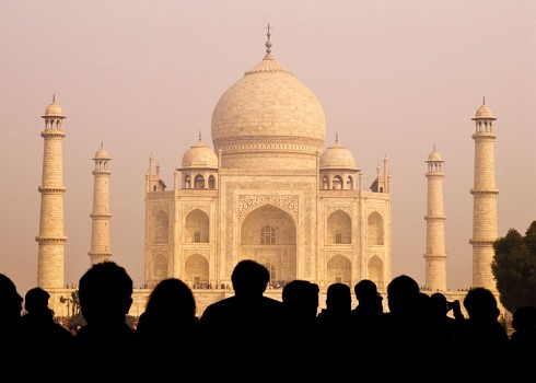 View of Taj Mahal with Tourist Silhouettes