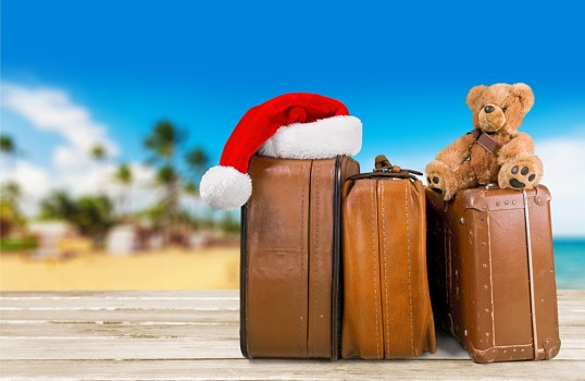 Christmas Vacation - Suitcases, Santa Hat and Teddy Bear