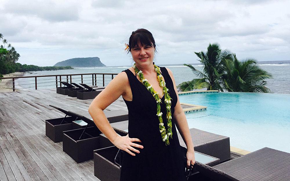 Natalia Kovacs at Aga Reef Resort and Spa in Lalomanu, Samoa