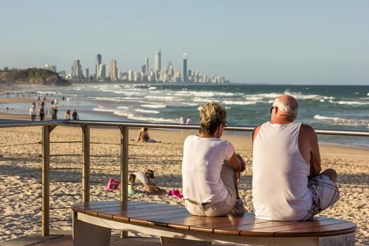 Senior Mature Couple on the Beach at Dusk, Gold Coast, Queensland, Australia