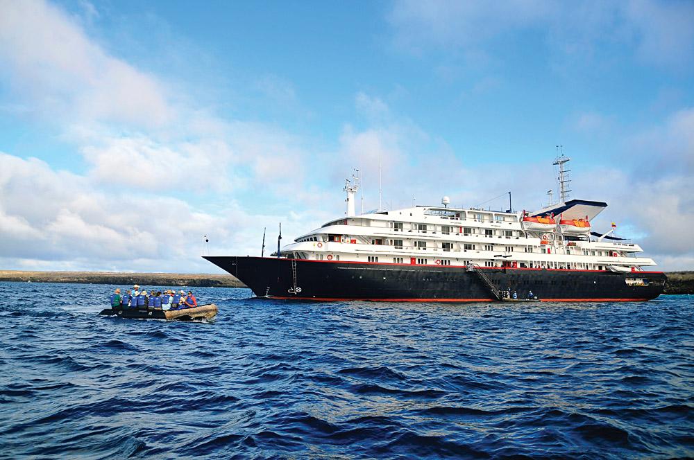 Silversea Galapagos Exterior with Zodiac, Galapagos Islands, Ecuador