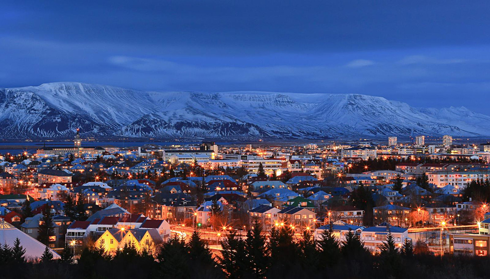 Reykjavík at Night During Winter, Iceland
