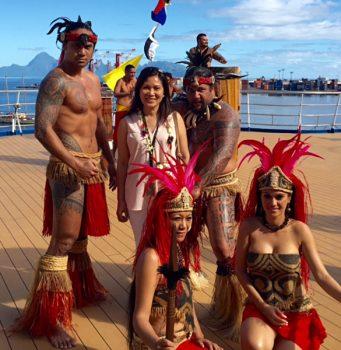 Gemma Adina - Posing with Local Entertainers on the Aranui, Tahiti.