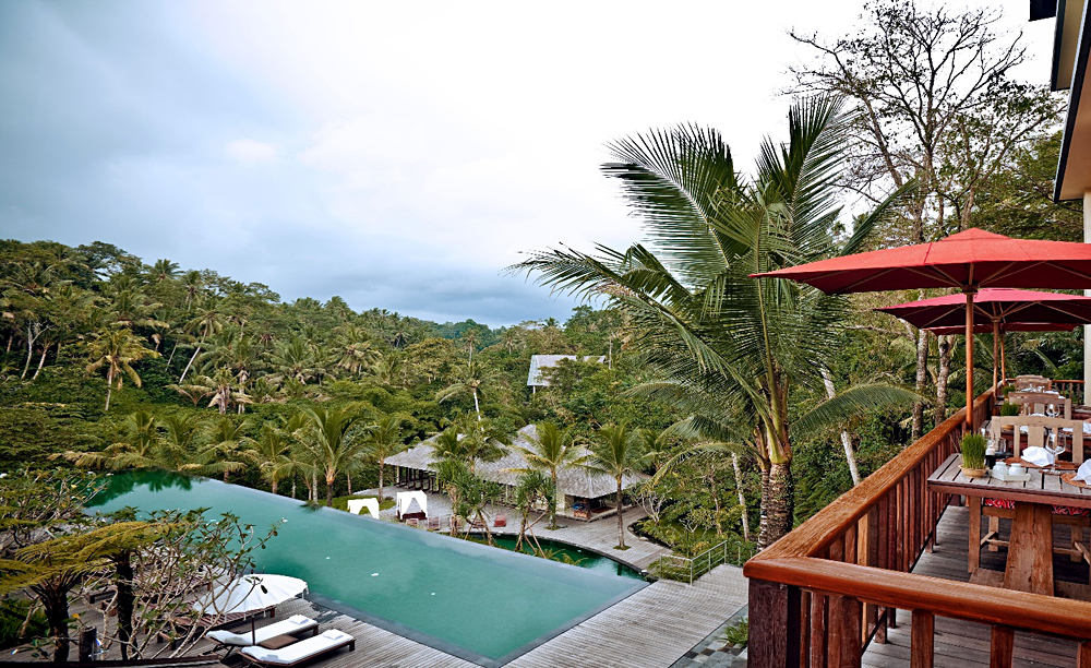 Komaneka at Bisma - Aerial View of Main Pool and Restaurant, Ubud, Bali