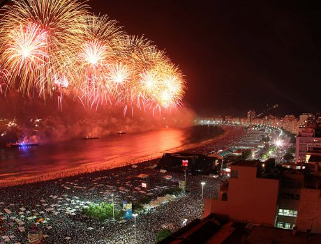 New Years Eve Fireworks on Copcabana Beach, Rio de Janeiro, Brazil