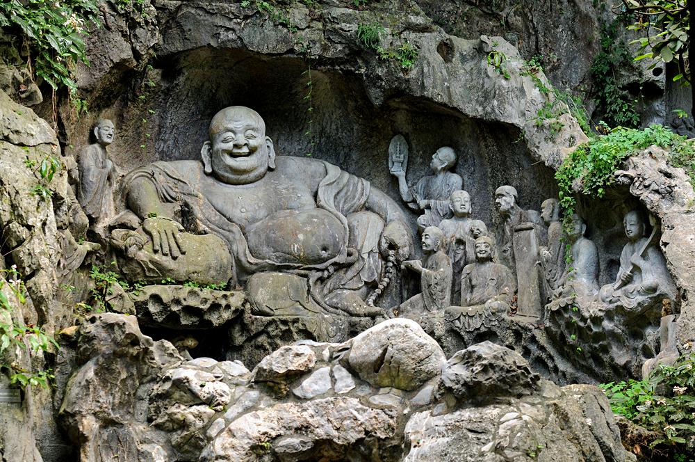 Statue of Laughing Buddha at Lingyin Temple, Hangzhou, China