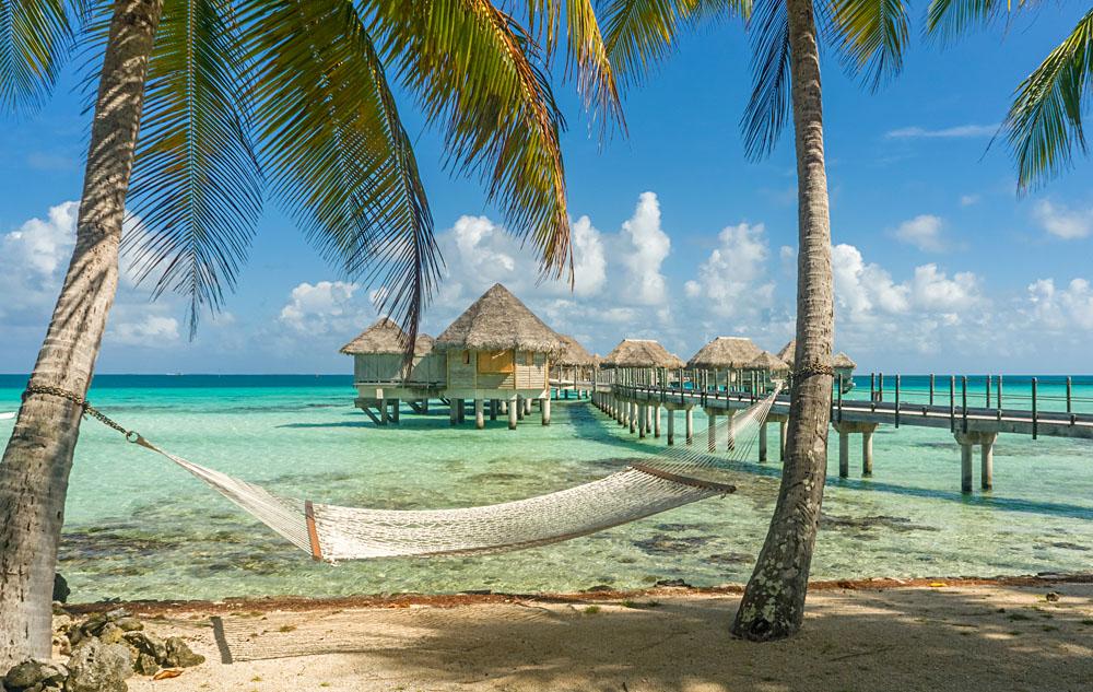 Hammock on a Beach in Tikehau, Tahiti (French Polynesia)