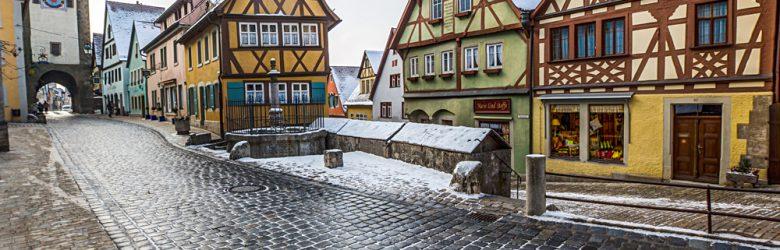 Plonlein Fork and Siebers Tower in Rothenburg ob der Tauber, Bavaria, Germany