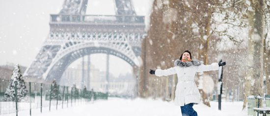 Winter in Paris with Happy Young Woman, France