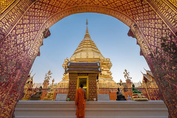 Buddhist Monk at Wat Phra That Doi Suthep, Chiang Mai, Thailand