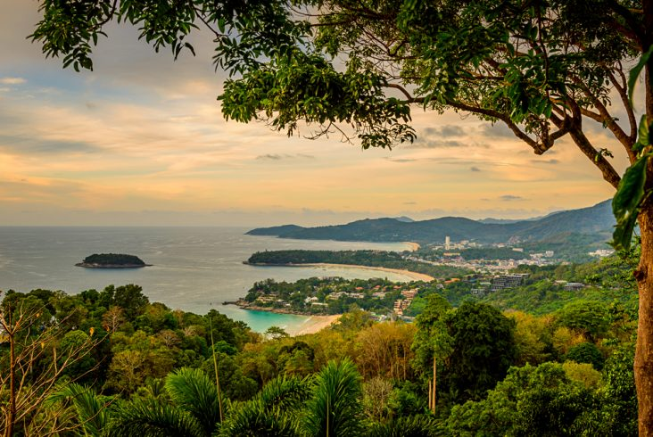 Sunset View of Karon Beach and Kata Beach from Karon Viewpoint, Phuket, Thailand